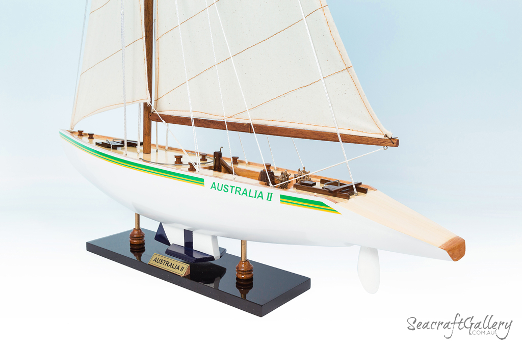 AUSTRALIA II WOODEN MODEL YACHT SHIP BOAT AMERICA/'S CUP SAILBOAT GIFT 80CM