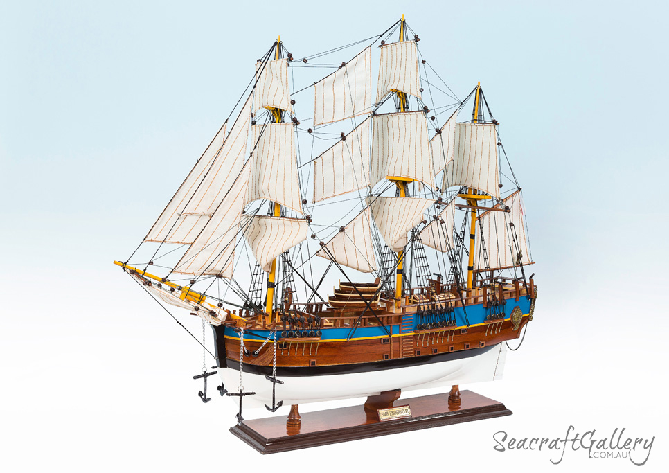 Endeavour 75cm 6 painted model ship