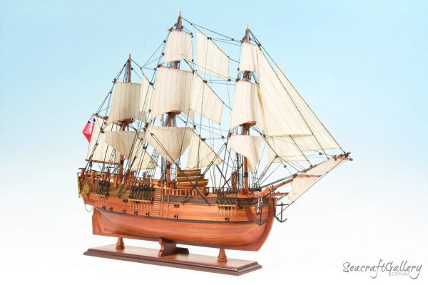 HMB Endeavour painted 12 model ship 75cm