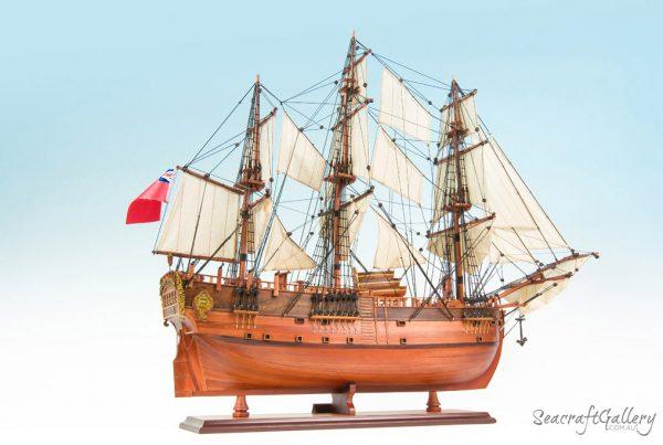 HHMB Endeavour painted 13 model ship 75cm