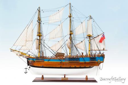HMB Endeavour painted 95cm model ship (6)